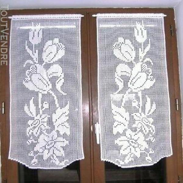 Rideaux au crochet brise-vue motifs fleurs fait main neufs c