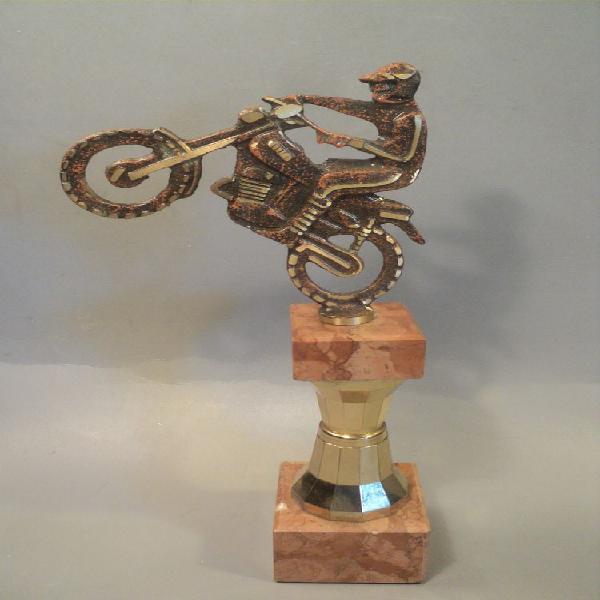 Trophée moto cross trail laiton et marbre. occasion, loches
