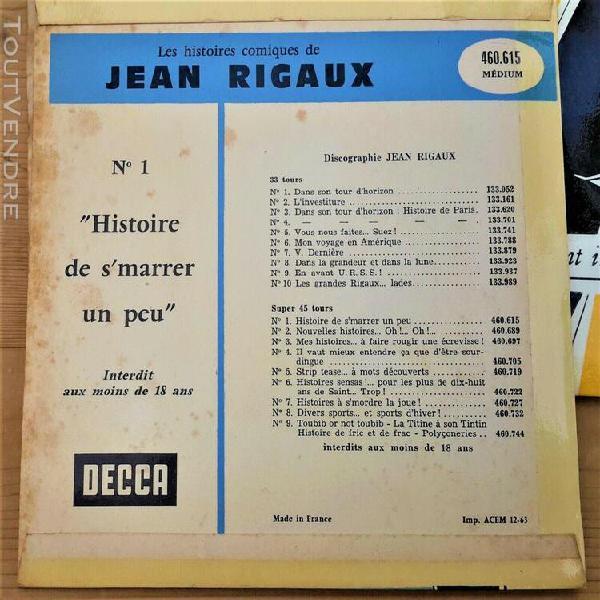 Vinyles 45t jean rigaux lot de 3 disques n°1, n°2 et n°3