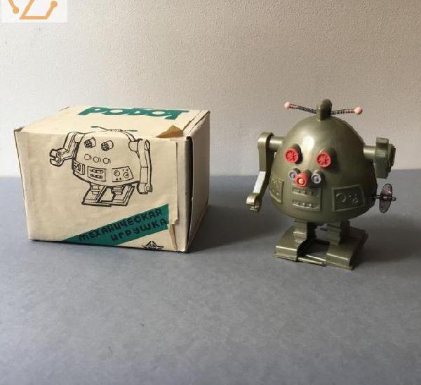 Ancien jouet robot mecanique vert collector
