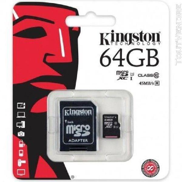 Carte mémoire kingston 64 go classe 10 + adaptateur pour