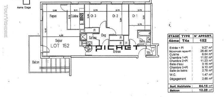 Exclusivite appartement pau 4 pièce(s) 84 m2