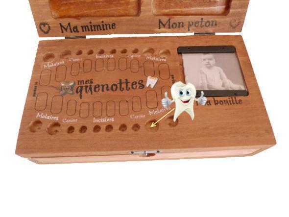 Grande boîte à dents, empreintes et bracelet de naissance