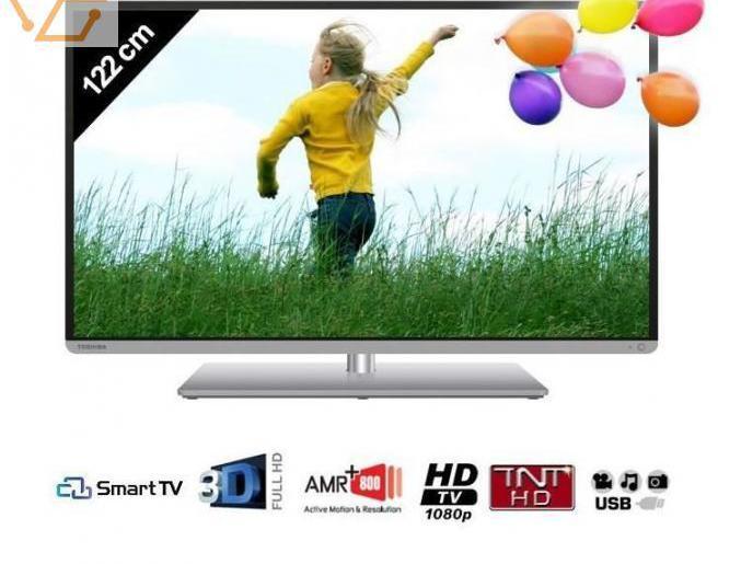 Tv toshiba smart tv 3d 122 cm (48 pouces) tbe