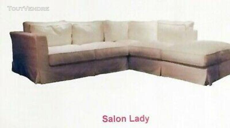 Urgent salon d'angle méridienne droite + pouf + 2 fauteuils