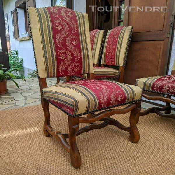 """6 chaises style louis xiii pied """"os de mouton"""" en bon état"""
