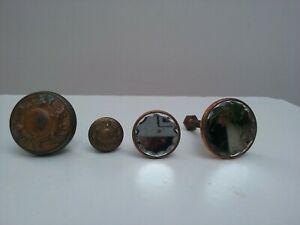 Ancien boutons de tiroir verre biseauté-cuivre / bronze xxe