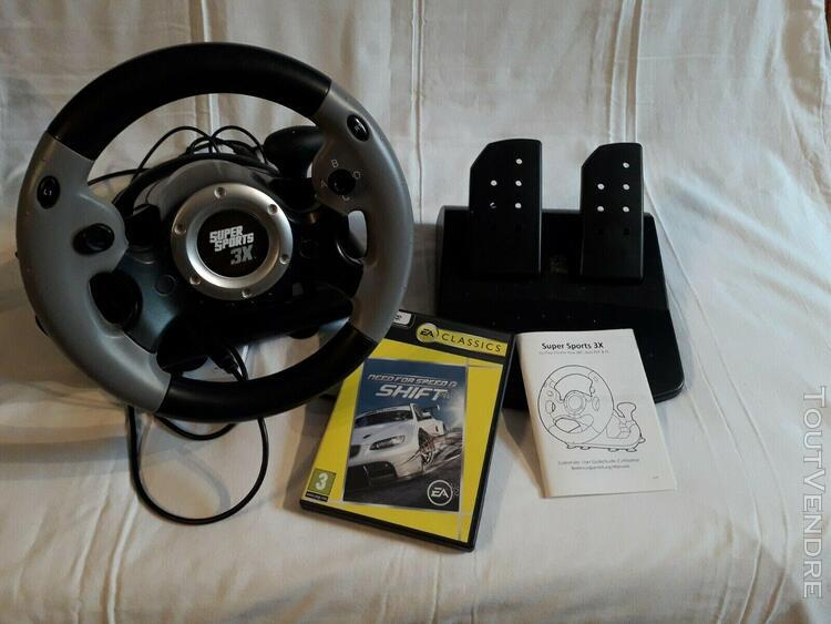Datel super sport 3x volant + pédales compatibles pc,ps3,