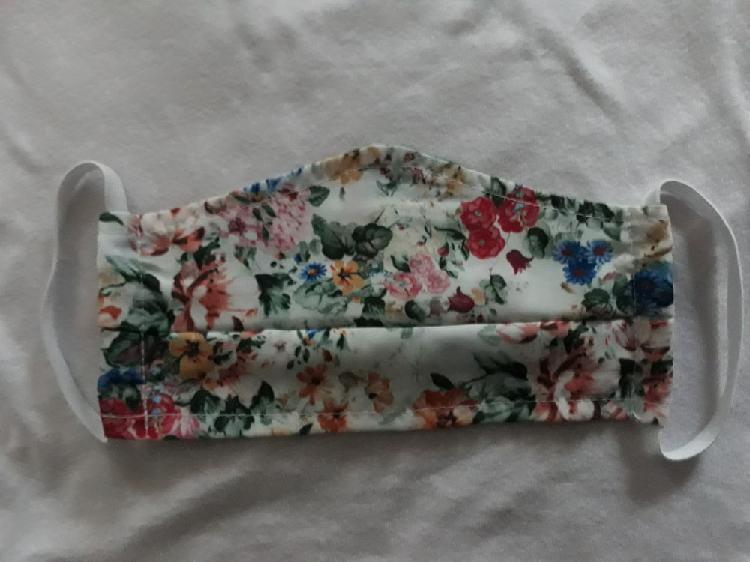 Masque tissu lavable imprimé fleuri adulte neuf/revente,