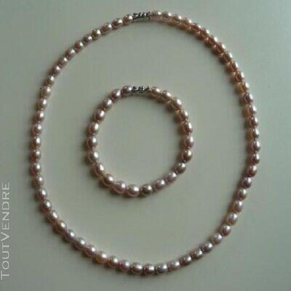 Collier 46cm + bracelet 19,5cm neufs perles couleur mauve fe