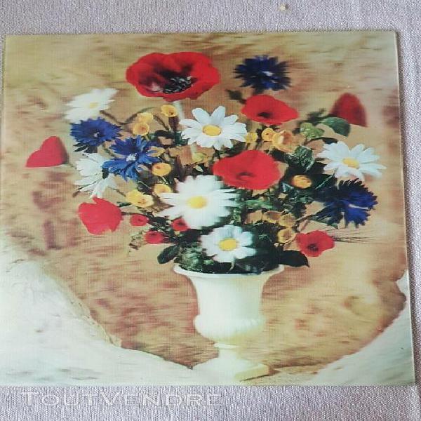 Tableau rigide fleurs en 3d 20,5 x 25,50 cm