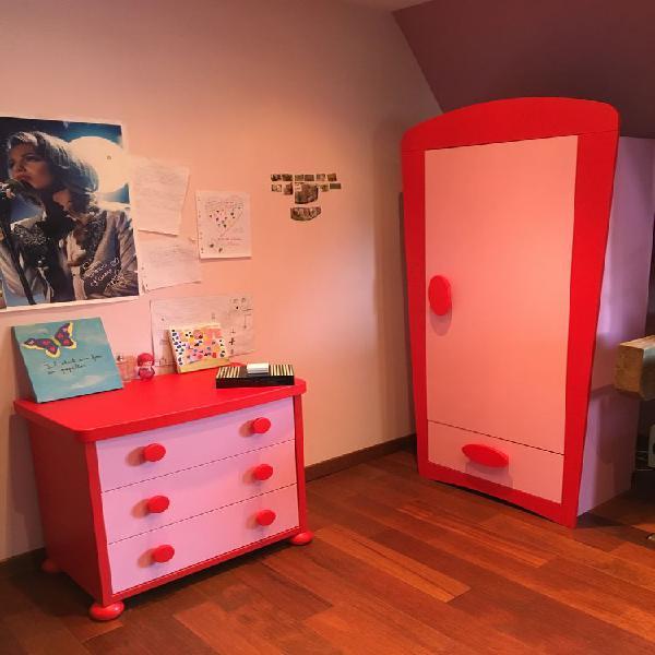 Chambre enfant rose et rouge pour fille occasion, yerres