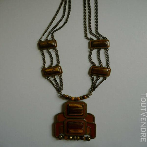Très beau collier long en pierre œil de tigre, bronze,