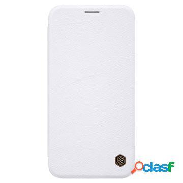 Étui à rabat iphone xs max avec porte-cartes nillkin qin - blanc