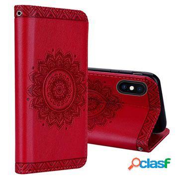 Étui portefeuille iphone xs max - série mandala - rouge