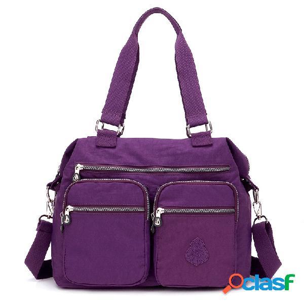 Nylon sac bandoulière multi-poches léger de grande capacité pour femmes