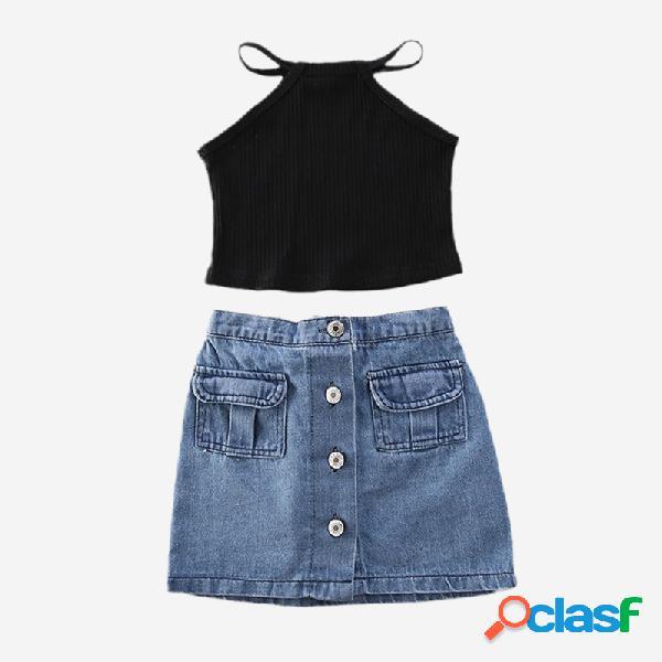 Ensemble de gilet sans manches pour fille + jupe en jean pour 2-8 ans