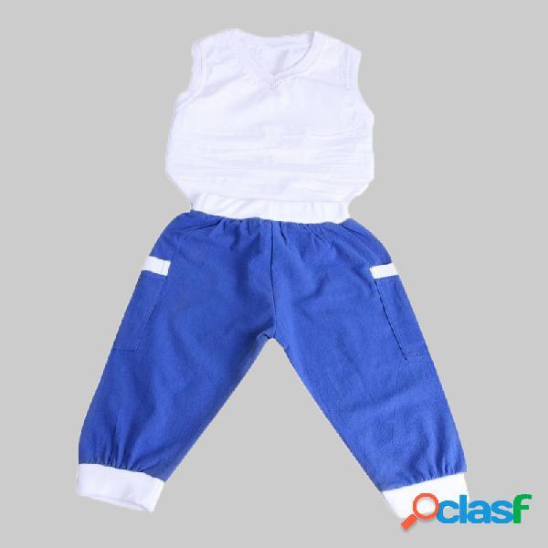 Gilet sans manches blanc pour garçon + pantalon bleu ensemble sport décontracté pour 1-7 ans