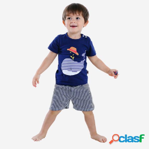 Pyjama à manches courtes à imprimé rayé dolphin pour garçon, ensemble de 1 à 5 ans