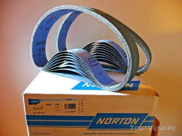 18 bandes abrasives étroites 50x800 p80 norton ref r822