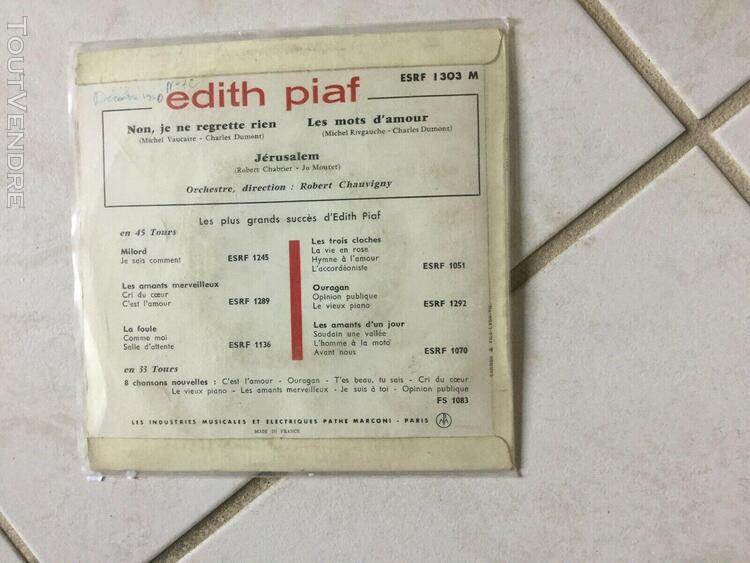 Lot de. 2 disques 45t 17cms edith piaf charles