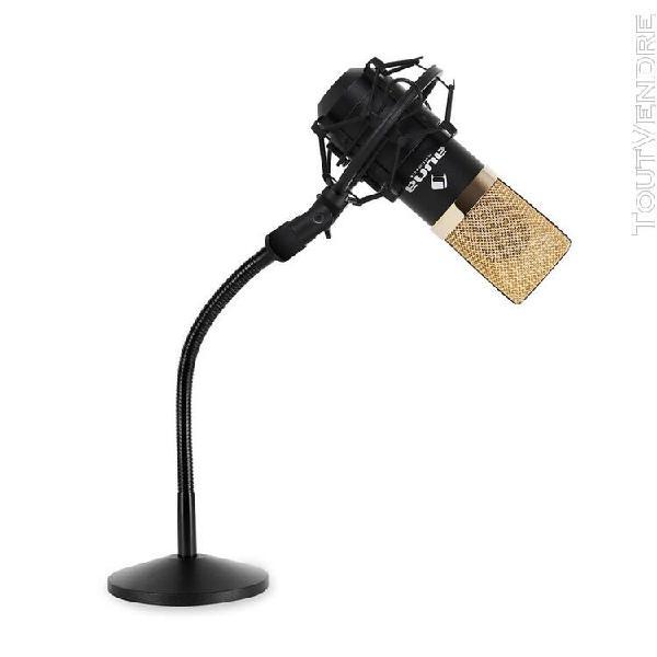 Set micro studio avec micro usb noir/or et pied de table