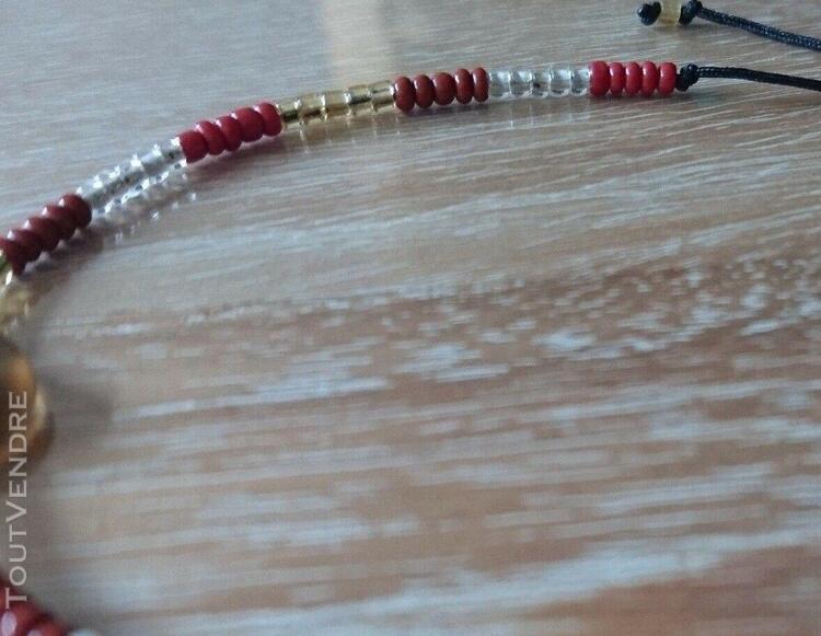 Bracelet perles de rocaille sur cordon noir - neuf