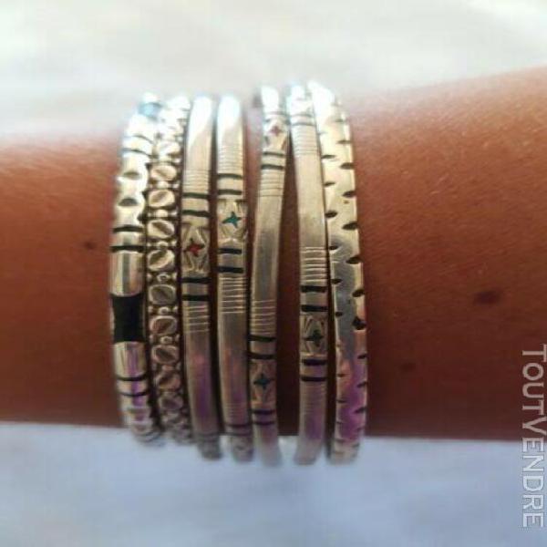 Bracelet touareg en argent massif lot de 6