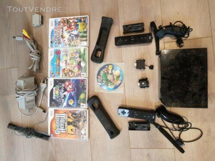 Lot wii: console, jeux x5, wii motion x2, manettes x2, prot