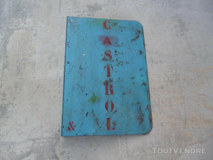 plaque peinte double face enseigne castrol 60 / 41 c m
