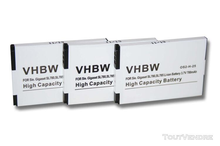 vhbw 3x batteries li-ion 700mah (3.7v) pour téléphone sans