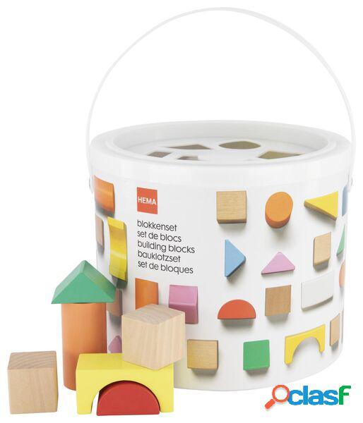 Hema 50 blocs en bois dans un seau