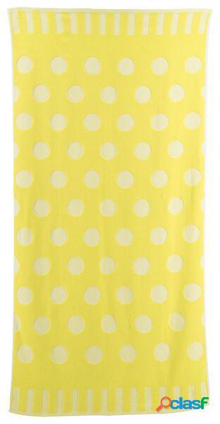 Hema serviette de plage coton 90x180 pois (jaune)