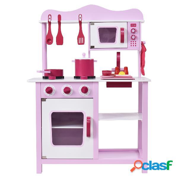 Cuisine pour enfant en bois cuisine de jouets cuisine de jeux cuisine éducatif jeux de rôle avec accessoires rose