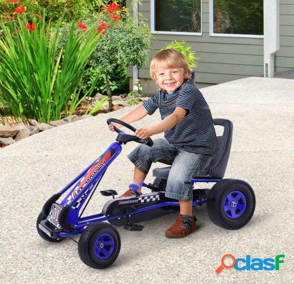Kart à pédales pour enfant karting enfant vélo et véhicule d'enfants à l'extérieur jouet avec siège ajustable 4 roules bleu