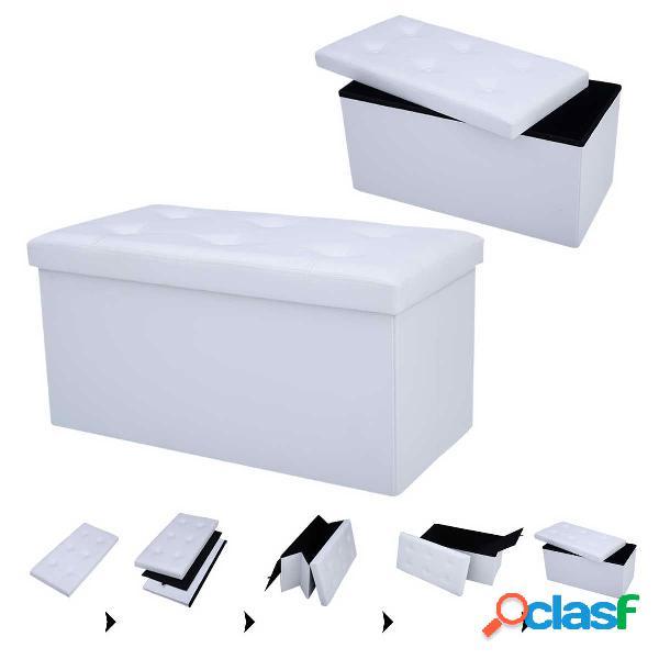 Tabouret de cube pouf pliable banc coffre rangement boîte de rangement brun