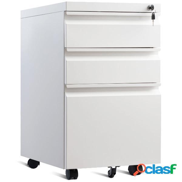 Costway caisson/armoire de bureau à roulettes avec 3 tiroirs 38 x 50 x 65cm blanc