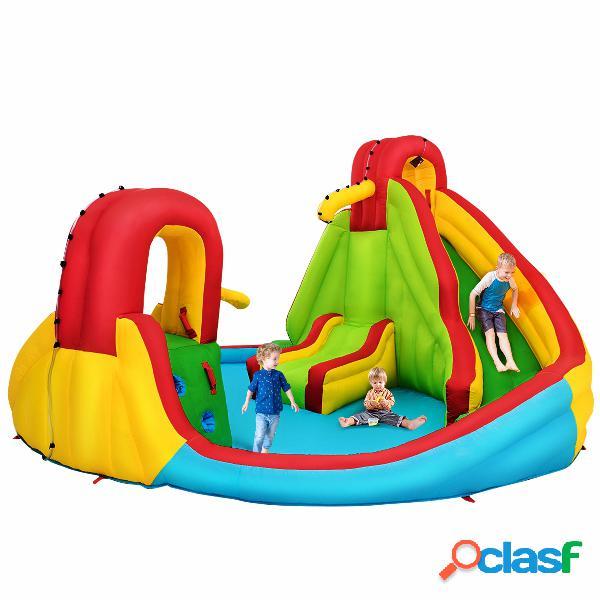 Costway château gonflable pour 3 enfants avec 2 toboggans bassin d'eclaboussement canon à eau souffleur non-inclus