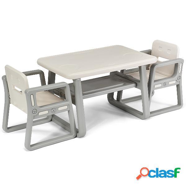 Costway ensemble table et 2 chaises enfants 1 à 3 ans beige et gris