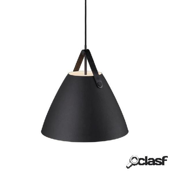 """""""suspension abat-jour cuir et métal strap d36 cm - noir"""""""