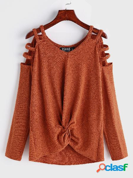Orange knotted cut out plain cold shoulder long sleeves t-shirts