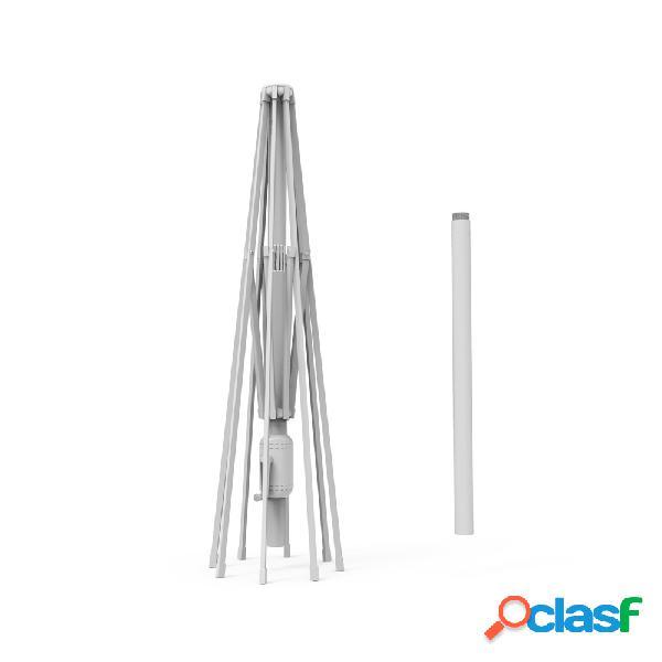Mât en aluminium pour parasol droit rond interpara 3,5 m, blanc