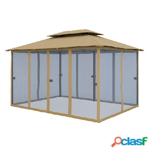 Rideaux supplémentaires pour tonnelle comfort, 3x4 m, rideaux en tissu moustiquaire, beige, 6 pièces