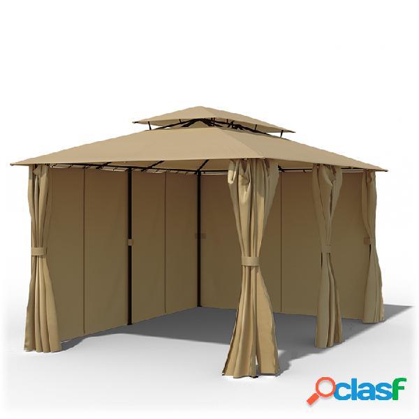 Structure de tonnelle avec toit et rideaux comfort, 3x4 m, beige