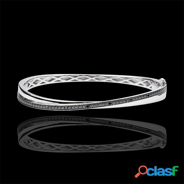 Bracelet jonc saturne duo - diamants noirs - or blanc 9 carats