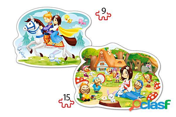 2 puzzles forme - blanche neige et les sept nains castorland