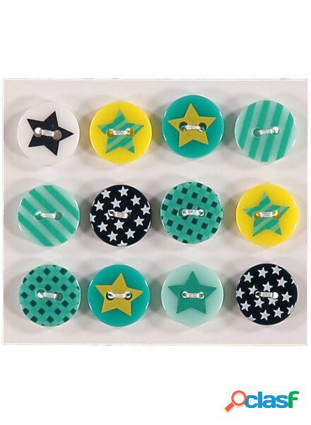 Hema lot de 12 boutons étoile (multi)