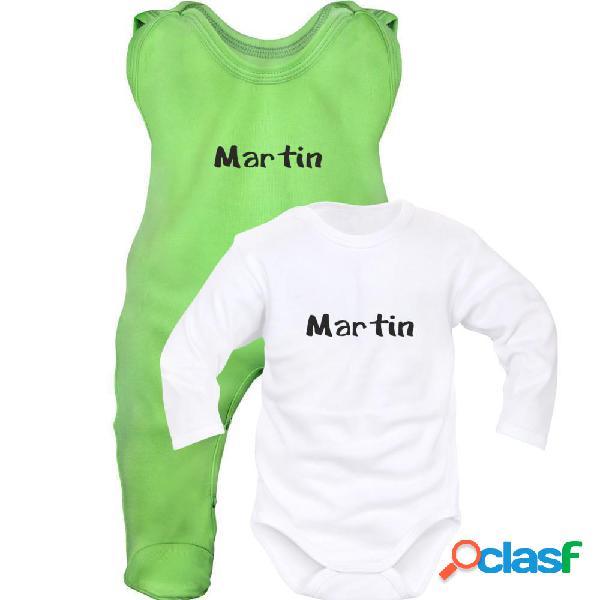 Ensemble bébé fille et garçon avec prénom (6 couleurs au choix) - vert-blanc 0-1 mois