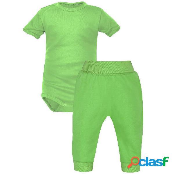 Ensemble: body bébé + pantalon (7 couleurs au choix) - vert 0-1 mois courtes