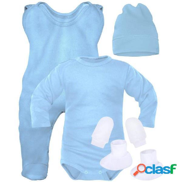 Ensemble naissance bébé garçon 5 pièces + sachet gratuit - bleu (moufles et chaussons blancs) 0-1 mois